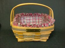 Longaberger 1993 Bayberry Christmas Basket Plaid Tidings Liner Plastic Protector