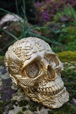 347067 FIGURINE  CRANE TETE DE MORT  RELIEF DORE OR  GOTHIQUE HEROIC FANTASY