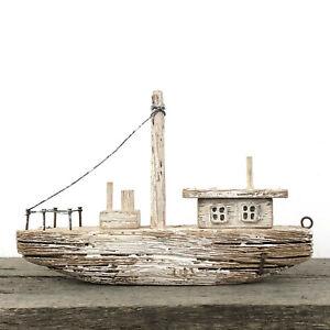 Whitewashed wooden boat shelf ornament, rustic nautical bathroom decoration