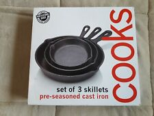 Cooks by JC Penney Home Set of 3 Pre-seasoned Cast Iron Skillets NEW