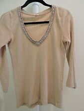 J Crew 100% Cotton Apricot Blouse Long Sleeved with Ruffled Neck Line Small