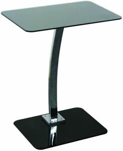 Black Glass Laptop Table Home Office Desk Computer Lamp Compact Storage Table UK