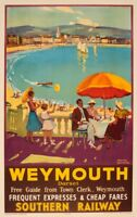 Framed Print - Vintage Southern Weymouth Railway Poster (Picture Artwork Trains)
