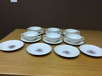 Wedgwood Conway Barlaston & Etruria Footed Cream Soup Bowl & Saucer Set (6 Sets)