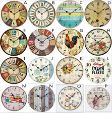 """12"""" Large Vintage Rustic Garden Wall Clock Antique Shabby Chic Retro Distressed"""