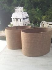 Set of 2 Oval Linen Lamp shades by Dunelm Brown Beige