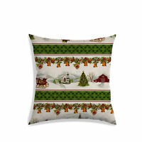 Christmas Printed Cushion Cover Off White Satin Sofa Couch Pillow Case Décor