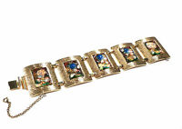 Bijou alliage doré Bracelet  de créateur  maille articulé émaillé  bangle