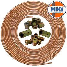"""Aston Martin 25ft 3/16"""" Copper Brake Pipe Male Female Nuts Joiner Tube Joint Kit"""
