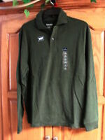 NEW MENS ST JOHNS BAY GREEN SUEDED  POLO LONG SLEEVE SHIRT SIZE SMALL