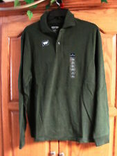 NEW MENS ST JOHNS BAY GREEN SUEDED BUTTON POLO LONG SLEEVE SHIRT SIZE SMALL
