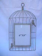 SHABBY GREY METAL BIRD CAGE PHOTO FRAME