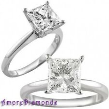 3 ct certified H VS1 natural princess cut diamond solitaire engagement ring gold