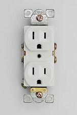 15 Amp Commercial Grade Duplex Receptacle 125V Outlet NEMA 5-15R Plug White