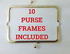 "10 PIECES 8""x3"" Metal purse frames Shiny GOLDTONE USA Seller"