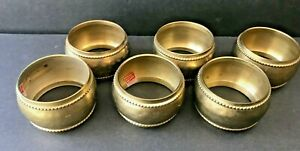 SET of 6 Hammered SOLID BRASS Metal NAPKIN RINGS Made in India Hand Made Decor
