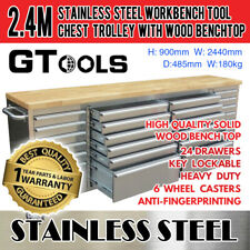 2.4M Garage Tool Chest Rolling Trolley Tool Box 24 Drawers Auto shop - GT2424W