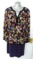 M&S Ladies Size 16 Purple Black Brown Green Floral Check Mix Shift Dress