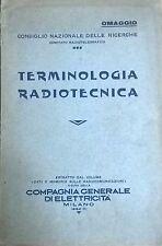 Terminologia Radiotecnica (1932 Compagnia Generale Di Elettricità) Ca