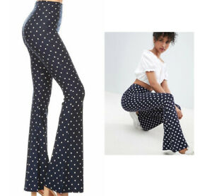 Women's Polka Dot Flared Pants Bell Bottom Stretch Soft Long High Waist Yoga