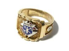 Antique 10k Gold Enamel Knights of Columbus KofC Gent's Ring UK P & 1/2 Size