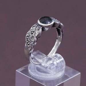 sz 7, vtg Sterling silver handmade ring, Mexico 925 obsidian w/ marcasite