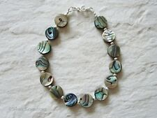 Green & Blue Abalone Paua Shell Flat Coins & Sterling Silver Designer Bracelet