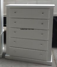 HAND MADE BERKELEY WHITE 5 DRAWER CHEST READY ASSEMBLED!