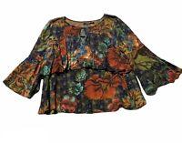 Desigual Flare Floral Water Color Blouse Shirt Size L Large Womens