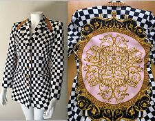 Vtg 90s Womens ESCADA Checkered Filigree Baroque Blazer Jacket Floral New Wave M