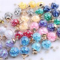 20Pcs Glass Ball Pendants Confetti Making Charms Round Transparent Jewelry DIY
