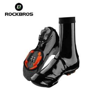 ROCKBROS Winter Cycling Shoe Cover Warm Windproof PU Protector Black Overshoes