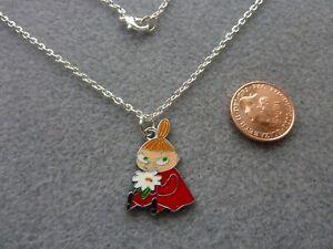 "Little My Enamel Charm Pendant Necklace 18"" Chain Moomin Birthday Gift"