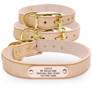 Custom Personalized Dog Collar Genuine Leather Heavy Duty ID Name Plate Engraved