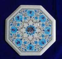 Marble Coffee Table Top Marquetry Pietradura Turquoise Stone Inlaid | Table Top