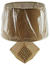 """Ceramic 14"""" Table Lamp and Shade Wood Look Angle Finish Night Stand Counter U/L"""
