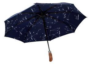 Dark Navy Constellation BALIOS Travel Umbrella Real Wood Handle Auto Open Close