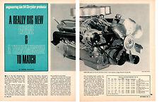 1964 CHRYSLER 426 V-8 STREET ENGINE ~ ORIGINAL 6-PAGE ARTICLE / AD