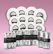 540 Piece Disposable Dinner Set With Silver Rims For 80 People