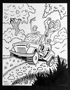 "FREE WHEELIN' Ink Drawing 11"" x 14"" nude men naked male naturalist nudist gay"