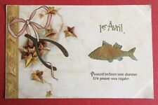 CPA. 1905. 1er AVRIL. Poisson. Feuilles. Gaufrée. Embossed