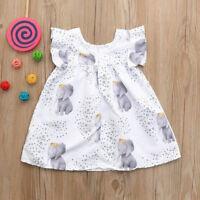 Toddler Infant Baby Girls Dress Stars Elephant Printed Short Dresses Outfits