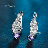 18K WHITE GOLD GF HUGGIE MADE WITH SWAROVSKI CRYSTAL STUD EARRINGS PURPLE