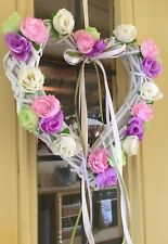 Wicker Hanging Wreath Shabby Chic Country  Pink Lilac Cream Green Roses Heart
