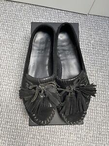 TopShop Leather Moccasins / Slip ons / Ballet / Slipper - UK 8 - Fringe Flats