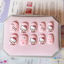 NEW 24pcs 'SUPPER CUTE' hello Kitty Girls Pink Short False Fake Tip Nail N3027