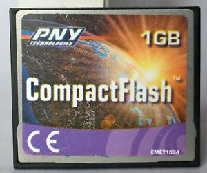 PNY 1GB compact flash card, with some wear.