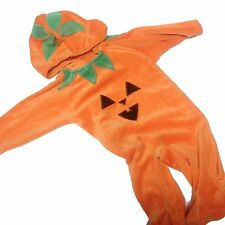 Jack O Lantern Pumpkin Costume 3 to 6 Months Hooded Velour HALLOWEEN