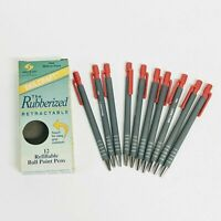 Skilcraft Ballpoint Pens Rubberized Retractable Red Medium Vintage Set of 10