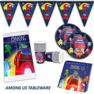 Among Us Birthday Party Tableware - Plates, Napkins, Cups, Tablecover, Flag Game